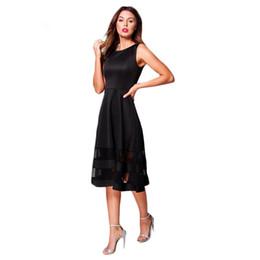 Wholesale Street Style Clothing - 2017042816 Solid Patchwork A-Line Dress Women Clothing Sleeveless Knee-Length Vestido Elegant Female Summer Lady Dress
