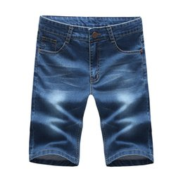 Wholesale Wholesale Clothing Skinny Jeans - Wholesale- BOLUBAO 2017 Men Short Jeans Brand Clothing Cotton Straight Knee Length Shorts Jean High Casual Elastic Denim Summer Style