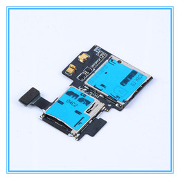 Wholesale Free Sim Reader - DHL Free Shipping 100pcs lot Original New SD Card Reader SIM Card Tray Holder Slot Flex Cable For Samsung Galaxy S4 GT-i9500 i9505 i337