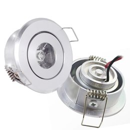Wholesale Cut Lamp - Polished led 1watt Recessed downlight high power mini spotlight 45mm hole cut celling lamp AC85-265V DC12V 3000K 4000K 6000K white silver