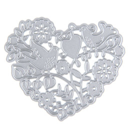 Wholesale Photo Album Heart - Beautiful Flowers with Birds and Heart Cutting Dies Stencils Metal Crafts for DIY Scrapbooking Photo Album Paper Cards Embossing