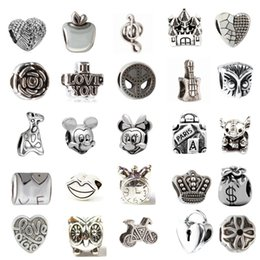Wholesale Hole European Charms - Mix 33 Different Alloy Charm Bead Retro Big Hole 925 Silver Plated Fashion Women Jewelry European Style For Pandora Bracelet Promotion