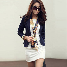 Wholesale Three Quarter Sleeve Suit Jacket - New Autumn Women Blazers Clothes Slim Top OL Jacket Coat Lapel One Button Three Quarter Sleeve Outerwear Short Suit