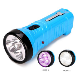 Wholesale Usa Flashlights - Blue Compact Flashlights Portable Purple Flashlight 4 LED Lamp UV Flashlight Violet Light and White Light EU USA UK Charger