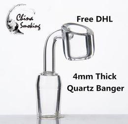 Wholesale Wholesale Quartz Clear - DHL 4mm Thick Quartz Banger Nail Domeless Glass Bong 10 14mm 18mm, male female Low price high quailty Clear Joint
