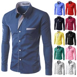 Wholesale wholesale mens striped shirts - Wholesale- Brand 2016 Dress Shirts Mens Striped Shirt Slim Fit Chemise Homme Long sleeve Men Shirt Heren Hemden Slim Camisa Masculina 8012