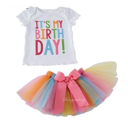 Wholesale Sets Lace Girls Summer Skirt - Girl INS Letters Bowknot Lace Rainbow Skirt Suit New Children Fashion Cartoon Short Sleeve T-shirt + Short Skirt 2 pcs Set Suits