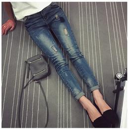Wholesale Trouser Jeans For Pregnant Women - Hole Jeans Elastic Waist Maternity Denim Pants Prop Belly Clothes for Pregnant Women Deep Blue Pant Pregnancy Pencil Trousers