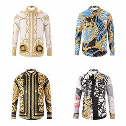 Wholesale Dressed Animals Paintings - New arrival Mens Luxury Stylish Casual Fashion tide brand 3D creative design dimensional printing Mens business long sleeve shirt