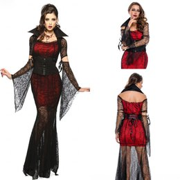 Wholesale Vintage Carnival Dress - Vintage Black and Red Halloween Vixen Vampire Costume 2018 Sexy Costume wild carnival Women Girl Halloween Costume Adult Witch Fancy Dress