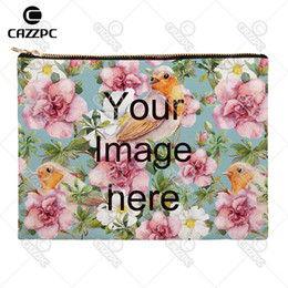 Wholesale Custom Print Canvas - Wholesale- Your image photo Print Custom Canvas High Quality Pattern Print Cosmetic Bag Makeup Pouch Wristlet Hand Bag