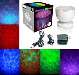 Wholesale Aurora Mini Lights - llfa784 Mini Portable Romantic Aurora Master 7 Colorful LED Light Projectors Speakers Ocean Wave Rainbow Projector Speaker Lamp