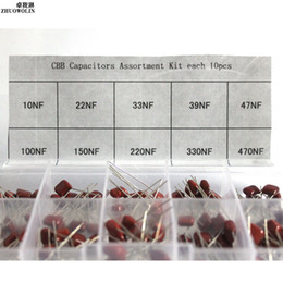 Wholesale Wholesale Assortment Box - Wholesale-100PC Box Metallized Polyester Film Capacitors CBB Assortment Kit 10nF ~ 470nF CGKCH175