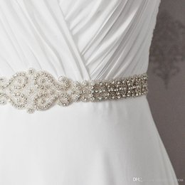 Wholesale Evening Dresses For Children - New Wedding Accessories Belt Fashion Handmade Crystal Rhinestone Bead Ribbon Wedding Belt Bridal Sash For Evening Dress Party Dress CPA532
