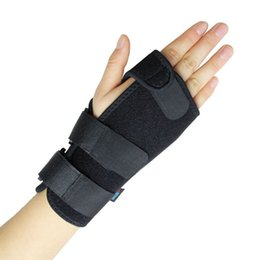 Wholesale Glove Guard - Wholesale- 2017 NEW Black Adjustable Left Hand Wrist Palm Support Splint Brace Glove Sport Care Hand Protector Palm Padded Hand Guards