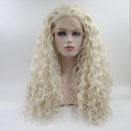 Wholesale Hair Wigs For White Women - Free shipping white water wave synthetic lace front wigs for women fashion loose curl hair heat resistant synthetic lace frontal wigs