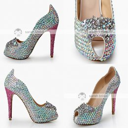 Wholesale Crystal Prom Heels - Fashion Rhinestone Crystal Wedding Dress Shoes Open Peep Toe Stiletto Pumps Heels 12cm for Lady Prom Party Evening Bridal Accessories 2017