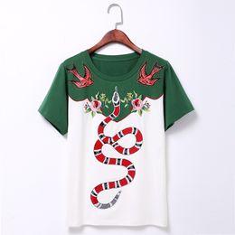 Wholesale Women T Shirts Beads - 2017 New Arrival Summer O Neck Short Sleeve Flower Snake Embroidery Women T Shirt Luxury Rivet T-shirt Quality Guarantee