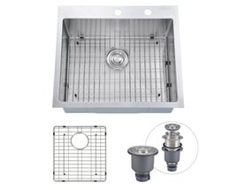"""Wholesale Counter Sinks - [From USA] 25""""x22"""" Inch Overmount Stainless Steel Handcrafted Kitchen Sink With Bottom Grid, 16-Ga Single Bowl With 2 Faucet Holes Topmount"""