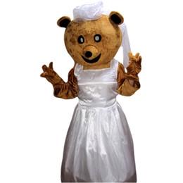 Wholesale Mascot Costume Wedding - Wedding Bride Bear Mascot Costumes Cartoon Character Adult Sz 100% Real Picture