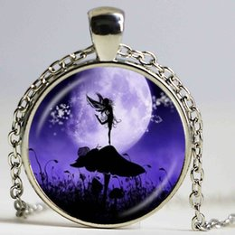 Wholesale Snail Pendant - Angel Fairy Silhouette Necklace Snail,Mushroom,Photo Pendant Full Moon Jewelry Glass Dome Pendant Fashion Accessories Jewellery