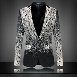 Wholesale Vintage Fancy - Wholesale- Mens Floral Blazers Designs Trendy Suits Club Vintage Slim Fit Flower Print Blazers Fancy Prom Dress Suits Terno Masculino