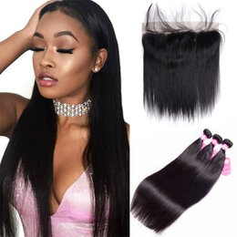 Wholesale Medium Brown Lace Closure - 7A Brazilian Unprocessed Virgin Hair Human Hair Weft With Frontal Straight 13X4 Ear to Ear Lace Closure With 3 Hair Bundles