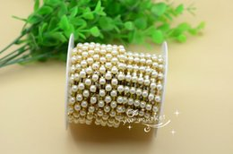 Wholesale Ss28 Rhinestone Chain - SS28 6mm Pearls Rhinestone Trims Chain 10 yard Sewing Accessories