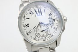 Wholesale calibre band - Luxury Brand Top Qualiy Quartz watch MEN watch Calibre White Dial Stainless Band watch Monor Hemmo
