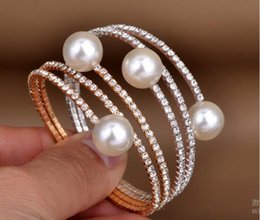Wholesale Gold Plated Pearl Bangles Wholesale - Full of diamond pearl multilayer bracelet bangle good quality bracelets two colors