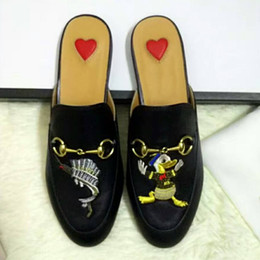 Wholesale Women Cow Slippers - Lady Brand Flats Shoes Summer Slippers Cow Leather Non-slipping Sole High Quality OriginalPackageCartoon embroidery (Dust Bag,Box)