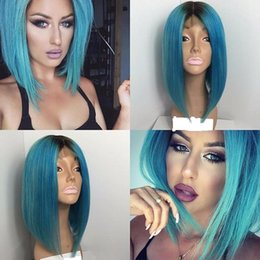 Wholesale Two Toned Blue Lace Wig - Ombre Lace Front Human Hair Wigs BOB T1b Sky Blue Malaysian Virgin Hair Two Tone Full Lace Wigs Natural Hairline With Baby Hair