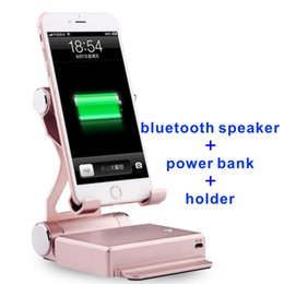 Wholesale Power Bank Lithium Battery - Charger Power Bank cellphone lazyboots holder bluetooth speaker 3-in-1 8000mah Smartphone iphone andriod 2 USB Ports lithium Battery folding