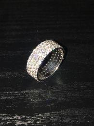 Wholesale Mens 14k White Gold Rings - 14K White Gold Mens Eternity 6 CT Pave Diamond Band Ring