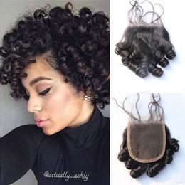 Wholesale Short Curly Hair Weave - Peruvian Human Hair Funmi Hair Closure Aunty Funmi Peruvian Bouncy Curls 4*4 Free Part Funmi Curly Weave Short Hair
