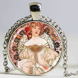 Wholesale Nouveau Art Glass - Alphonse Mucha Art Pendant, Art Nouveau Charm With Necklace, Bronze Glass Photo Cabochon Necklace