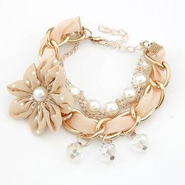 Wholesale Jade Bangle Pearls - Pulseras Mujer Lace Flower Charm bracelets & bangles for Women Fashion Imitation Pearl Crystal Pulseiras Feminina Bijoux 2016