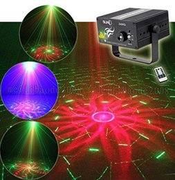 Wholesale Led Laser Light Shows - Suny RG 3 Lens 40 Patterns Mini Laser Projector Stage Light Blue LED Stage Lighting With Remote Control Show Disco DJ Party Lights MYY