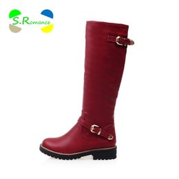 Wholesale Size 33 Boots - Wholesale-Women Boots Knee Hogh Plus Size 33-43 Full Side Double Buckle Strap Low Square Heel Women's New Fashion Shoes SB932