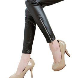 Wholesale Denim Leggins - Wholesale- 2016 New Solid Legging Mid Denim Autumn Women Slim Band Legging Leather Pants Zipper Seam High Elasticity Pencil Tights Leggins
