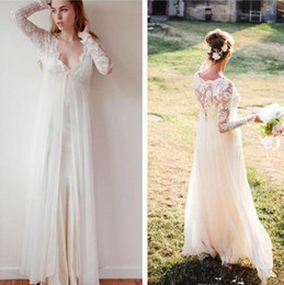 Wholesale Long Maternity Summer Dresses Bohemian - New Bohemian Wedding Gowns 2017 Sheath Chiffon Boho Wedding Dresses V Neck Transparent Lace Long Sleeve Beach Empire Maternity Formal Dress