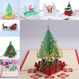 Wholesale Christmas Tree Postcards - 9 Design Christmas Card 3D Pop Up Greeting Card Christmas Tree Bell Party Invitations Paper Card Personalized Keepsakes Postcards WX9-130