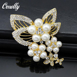 Wholesale Korean Bridal Bouquets - Fashion Jewelry Wholesale Korean High-grade Diamond Pearl Crystal Brooch Pins Scarf Buckle Dual Limited Bridal Bouquet Brooches