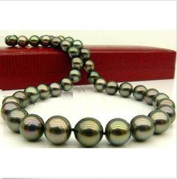stunningAAA 10-11mm collana di perle di pavone verde tahitiano 18inch14K da