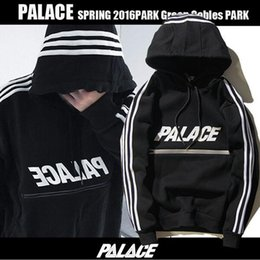 Wholesale Couple Hoodies Women Men - Tide Brand PALACE Men Black Print Cotton Hoodies BF Style Hiphop Sweatershirts Loose Tops Women Couples Star Same Paragraph Sizes M-2XL