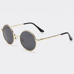Wholesale Round Wire Glasses - Vintage Retro Small Round Shaped Wire Metal Frame Unisex Polarized Sunglasses 45mm Circle Lenses Circular Glasses Eyewear