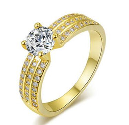 Wholesale Vvs Diamond Engagement Rings - ROUND CUT 1.85 CT E VVS BRIDAL LAD DIAMOND ENGAGEMENT YELLOW GOLD FILLED RING