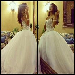 Wholesale Sweetheart Tulle Rhinestones - Luxury White Rhinestone Beading Wedding Dresses Sexy Sweetheart Backless Vintage Bridal Dresses Cheap Tulle Beaded Wedding Gown