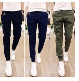 Wholesale Men S Solid Black Ties - Hot Selling Spring Autumn Mens Joggers Pant1s Casual Trousers Solid Ankle-tied Youths Men Trousers (Asian Size)
