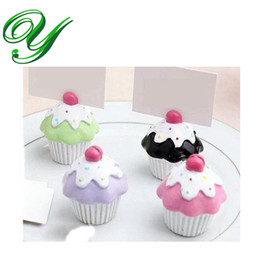 Wholesale Name Card Stand Holder - wedding cupcake place card holders wedding party favor table name number holder resin decoration random color business card standing holders